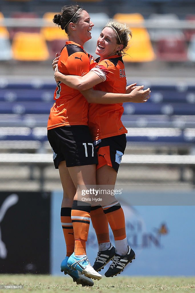 Emily Gielnik of the Roar celebrates a goal during the round 12 W-League match between the Brisbane Roar and Canberra United at Queensland Sport and Athletics Centre on January 12, 2013 in Brisbane, Australia.