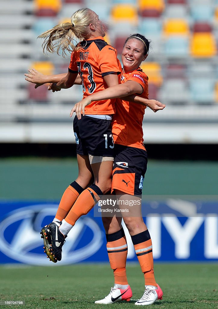 Emily Gielnik (R) of the Roar celebrates with team mate <a gi-track='captionPersonalityLinkClicked' href=/galleries/search?phrase=Tameka+Butt&family=editorial&specificpeople=4110794 ng-click='$event.stopPropagation()'>Tameka Butt</a> after scoring a goal during the W-League Semi Final match between the Brisbane Roar and Sydney FC at Queensland Sport and Athletics Centre on January 19, 2013 in Brisbane, Australia.