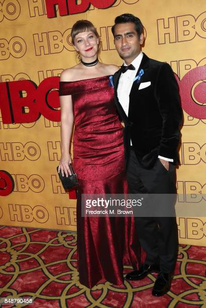 Emily Gordon and Kumail Nanjiani attend HBO's Post Emmy Awards Reception at The Plaza at the Pacific Design Center on September 17 2017 in Los...