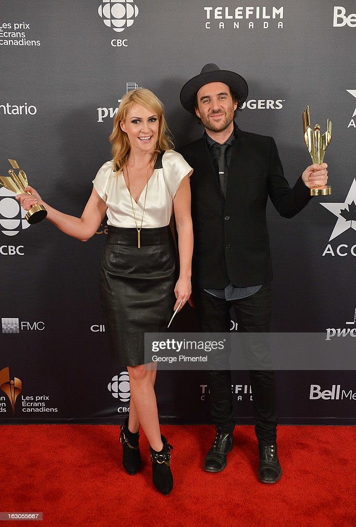 <a gi-track='captionPersonalityLinkClicked' href=/galleries/search?phrase=Emily+Haines&family=editorial&specificpeople=557275 ng-click='$event.stopPropagation()'>Emily Haines</a> and James Shaw, winners of Achievement in Music- Original Song, pose in the press room at the 2013 Canadian Screen Awards at Sony Centre for the Performing Arts on March 3, 2013 in Toronto, Canada.