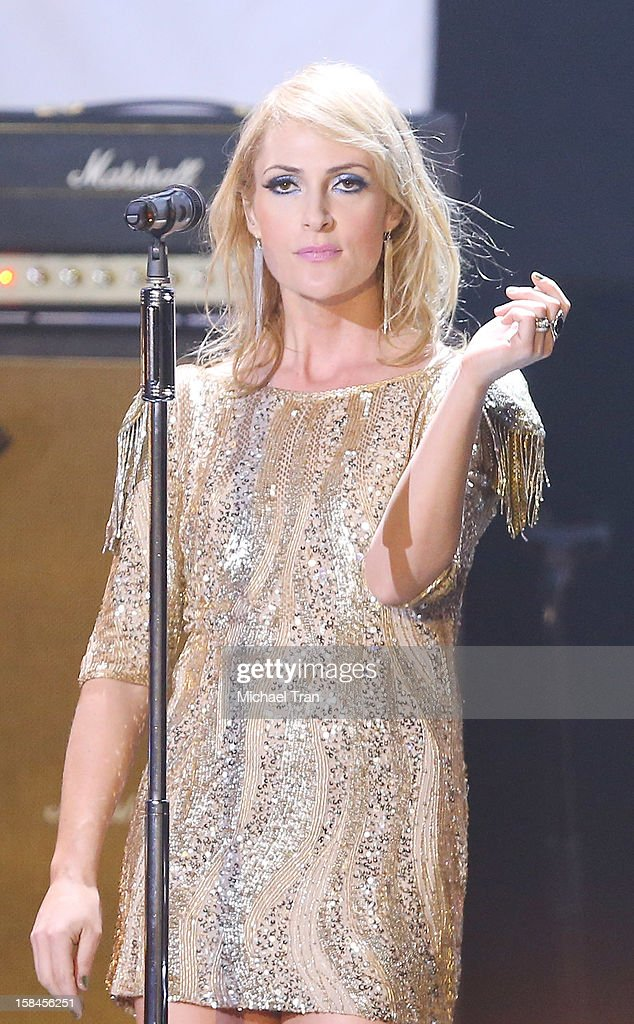 Emily Haines of Metric performs onstage at the 'VH1 Divas' show held at The Shrine Auditorium on December 16, 2012 in Los Angeles, California.