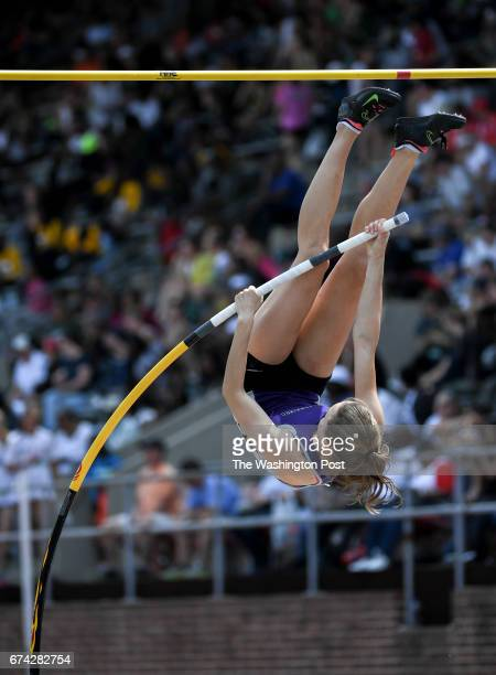 Emily Harrison of Battlefield High competes in the pole vault competition during the 123rd running of the Penn Relays in Philadelphia PA on April 27...