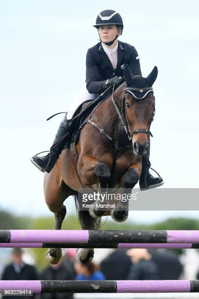 Emily HaywardMorgan rides AP Ninja during round one of the 2017/18 World Cup Show Jumping NZ qualifying series on October 20 2017 in Hastings New...