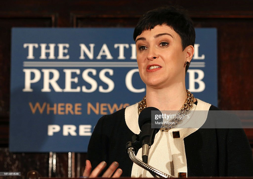 Emily Holubowich, executive director of the Coalition for Health Funding and co-chairman of NDD United, speaks during a news conference on sequestration budget cuts, at the National Press Club, February 11, 2013 in Washington, DC. The Aerospace Industries Association and the United Task Force for American Innovation held the news conference to urge President Obama and Congress to work together to find a balanced, bipartisan permanent solution to the sequestration budget cuts.