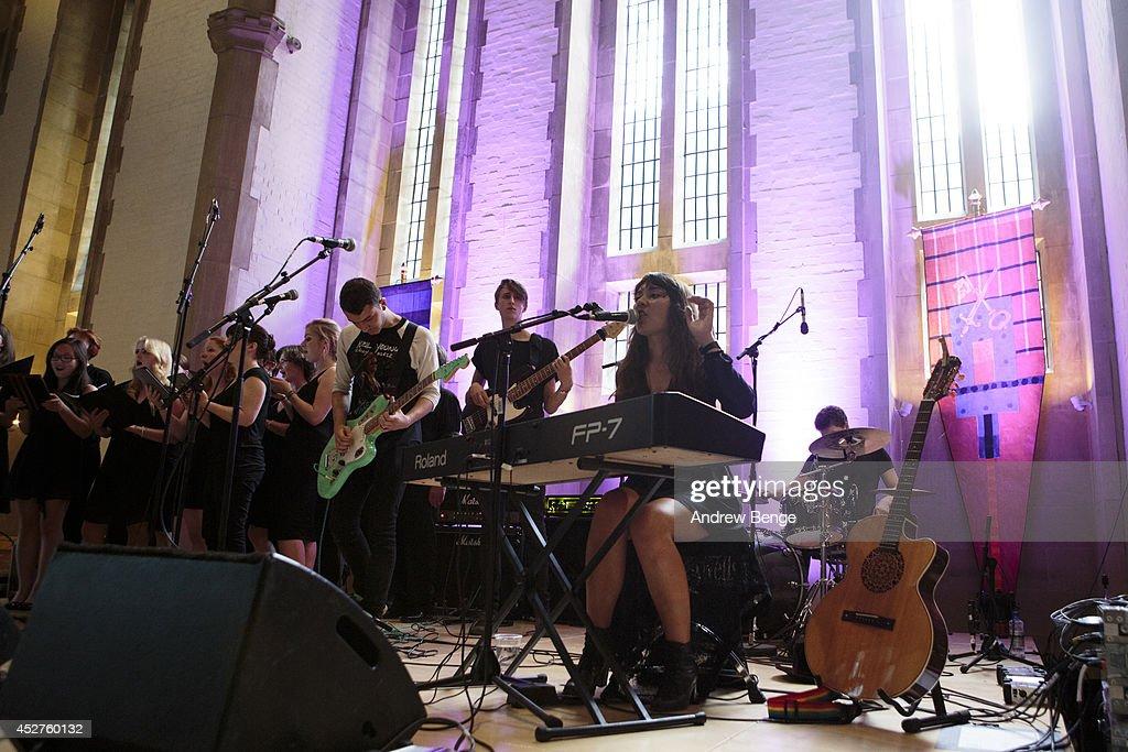 Emily Ireland of See Emily Play performs on stage at Tramlines Festival at The Cathedral on July 26, 2014 in Sheffield, United Kingdom.