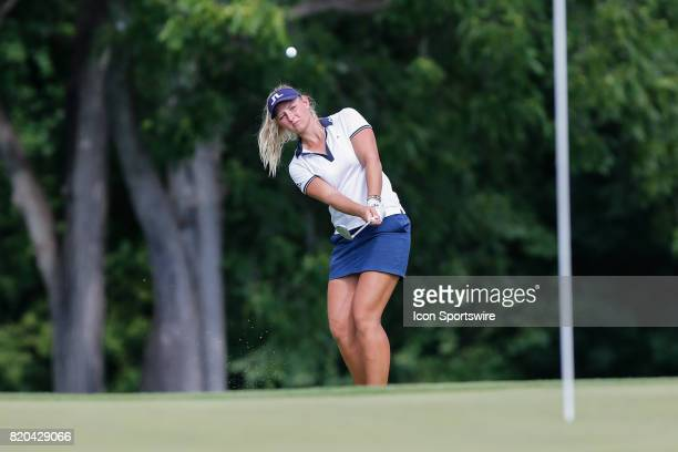 Emily K Pedersen of Denmark chips onto the 18th green during the first round of the LPGA Marathon Classic presented by Owens Corning on July 20 2017...