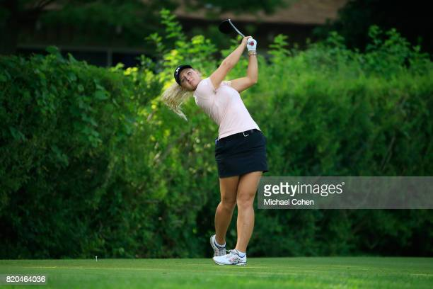 Emily K Pedersen of Denmark hits her drive on the 16th hole during the second round of the Marathon Classic Presented By Owens Corning And OI held at...