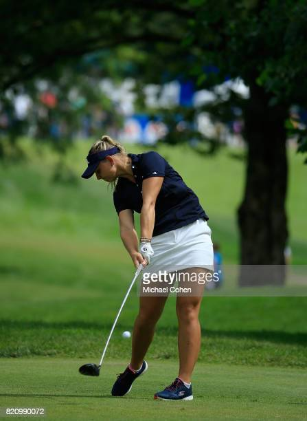 Emily K Pedersen of Denmark hits her drive on the third hole during the third round of the Marathon Classic Presented By Owens Corning And OI held at...