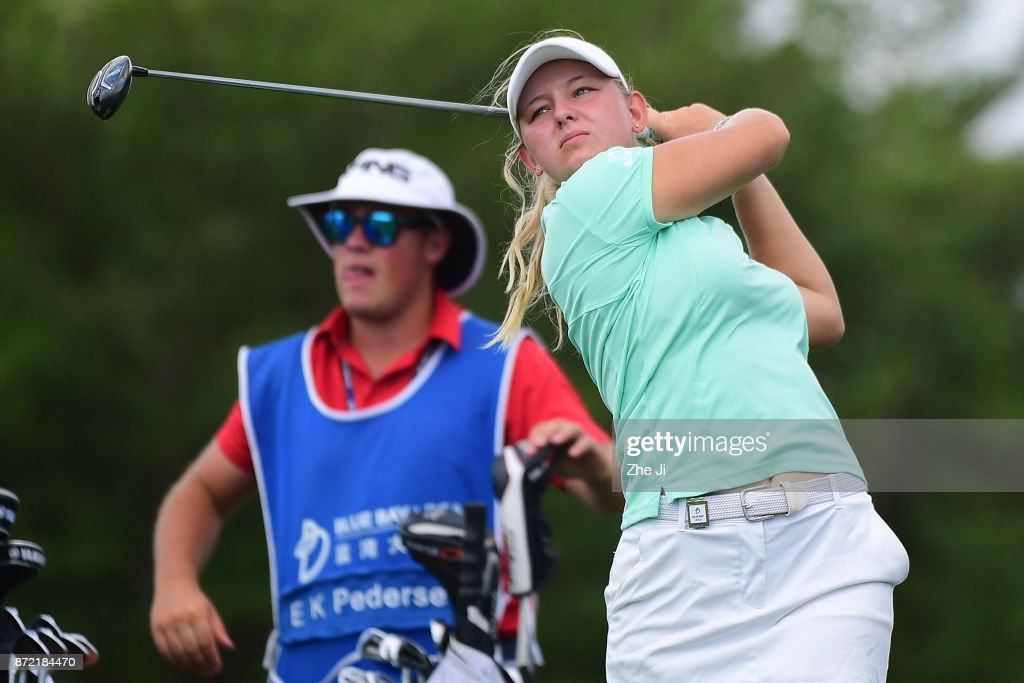 Emily K. Pedersen of Denmark plays a shot on the 15th hole during the second round of the Blue Bay LPGA at Jian Lake Blue Bay golf course on November 9, 2017 in Hainan Island, China.