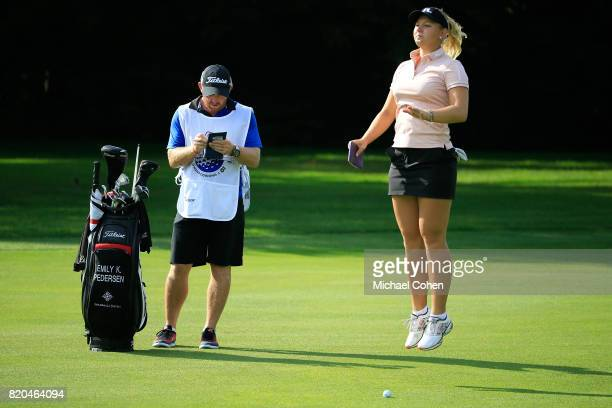 Emily K Pedersen of Denmark prepares to hit her third shot on the 15th hole during the second round of the Marathon Classic Presented By Owens...