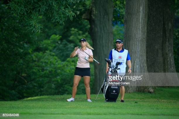 Emily K Pedersen of Denmark prepares to play her second shot on the 15th hole during the second round of the Marathon Classic Presented By Owens...