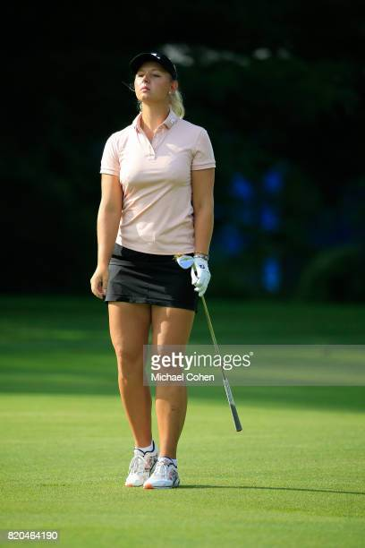 Emily K Pedersen of Denmark reacts to her third shot on the 15th hole during the second round of the Marathon Classic Presented By Owens Corning And...