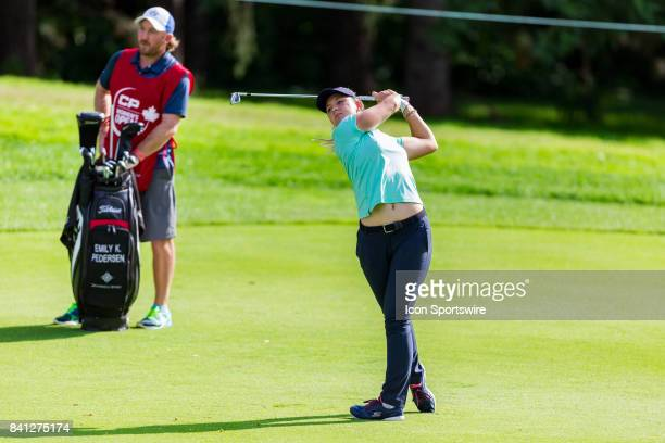 Emily K Pedersen plays her fairway shot on the 1st hole during the first round of the Canadian Pacific Women's Open on August 24 2017 at The Ottawa...