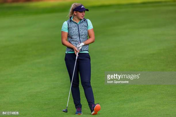 Emily K Pedersen watches her fairway shot on the 9th hole during the first round of the Canadian Pacific Women's Open on August 24 2017 at The Ottawa...
