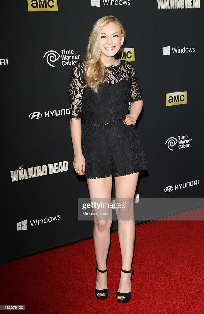 <a gi-track='captionPersonalityLinkClicked' href=/galleries/search?phrase=Emily+Kinney&family=editorial&specificpeople=5648808 ng-click='$event.stopPropagation()'>Emily Kinney</a> arrives at the Los Angeles premiere of AMC's 'The Walking Dead' 4th season held at Universal CityWalk on October 3, 2013 in Universal City, California.