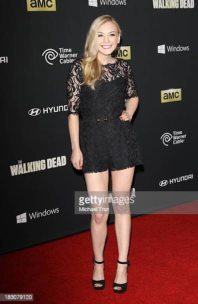 Emily Kinney arrives at the Los Angeles premiere of AMC's 'The Walking Dead' 4th season held at Universal CityWalk on October 3 2013 in Universal...