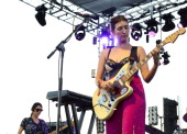 Emily Kokal and Jenny Lee Lindberg of Warpaint perform at FYF Fest 2012 day 1 at Los Angeles State Historic Park on September 1 2012 in Los Angeles...