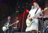 Emily Kokal of Warpaint performs during 2014 Lollapalooza at Grant Park on August 1 2014 in Chicago Illinois