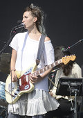 Emily Kokal of Warpaint performs during the Outside Lands Music and Arts Festival at Golden Gate Park on August 8 2014 in San Francisco California