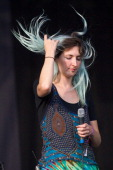 Emily Kokal of Warpaint performs on stage at Field Day Festival at Victoria Park on June 7 2014 in London United Kingdom