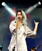 Emily Kokal of Warpaint performs on The Other Stage on Day 2 of the Glastonbury Festival at Worthy Farm on June 28 2014 in Glastonbury England