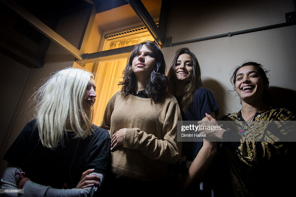 Emily Kokal Stella Mozgawa Theresa Wayman and Jenny Lee Lindberg of Warpaint pose backstage at Crossing Border Festival on November 16 2013 in The...