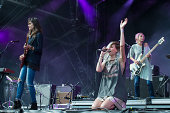 Emily Kokal Theresa Wayman and Jenny Lee Lindberg from Warpaint perform at Rock en Seine Festival at Domaine national de Saint Cloud on August 24...