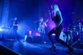 Emily Kokal Theresa Wayman and Jenny Lee Lindberg of Warpaint performs on stage at Freiheiz on February 25 2014 in Munich Germany