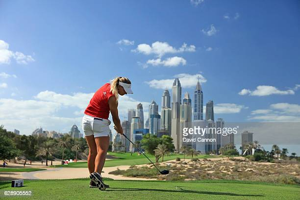Emily Kristine Pedersen of Denmark plays her tee shot on the eighth hole during the final round of the 2016 Omega Dubai Ladies Masters on the Majlis...