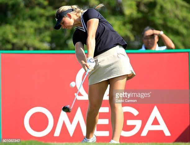 Emily Kristine Pedersen of Denmark plays her tee shot on the par 4 14th hole during the final round of the 2015 Omega Dubai Ladies Masters on the...