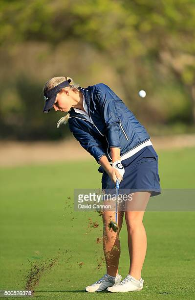 Emily Kristine Pedersen of Denmark plays her third shot at the par 5 10th hole during the first round of the 2015 Omega Dubai Ladies Masters on the...
