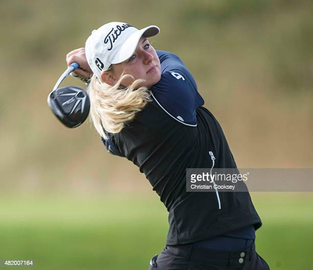Emily Kristine Pedersen of Denmark tees off at the second hole during the final round of the Aberdeen Asset Management Scottish Ladies Open at...