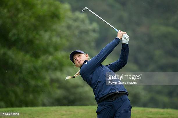 Emily Kristine Pedersen of Denmark tees off during Round 1 of the World Ladies Championship 2016 on 10 March 2016 at Mission Hills Olazabal Golf...