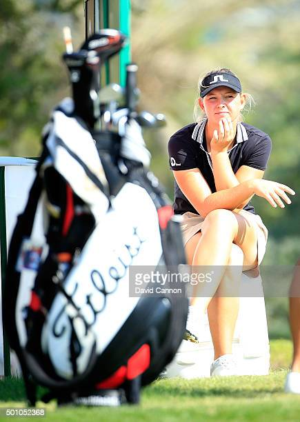 Emily Kristine Pedersen of Denmark waits to play her tee shot on the par 4 14th hole during the final round of the 2015 Omega Dubai Ladies Masters on...