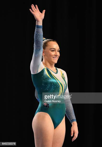 Emily Little of Australia celebrates winning the Floor aparatus during the World Cup Gymnastics at Hisense Arena on February 25 2017 in Melbourne...