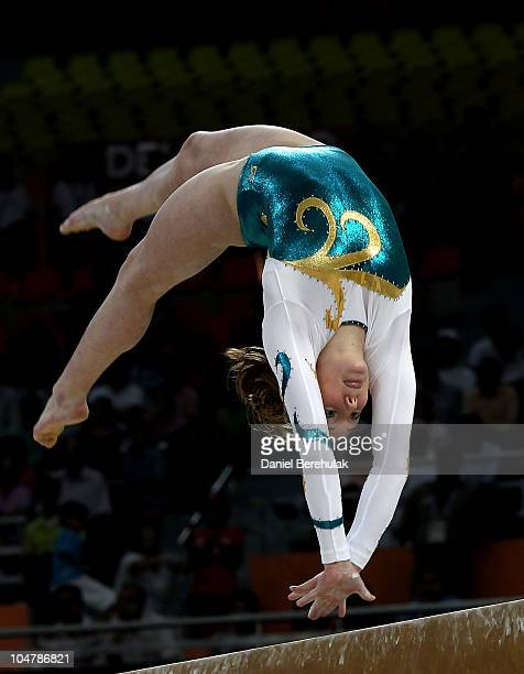 Emily Little of Australia competes in the beam at IG Sports Complex during day two of the Delhi 2010 Commonwealth Games on October 5 2010 in Delhi...