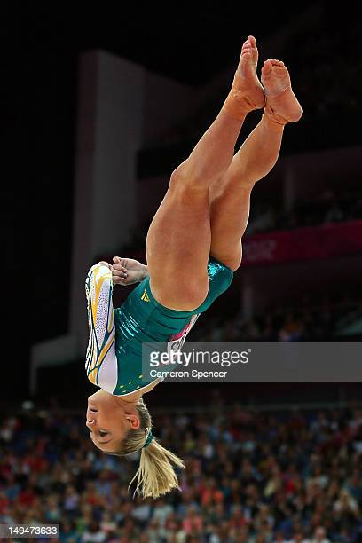 Emily Little of Australia competes in the floor exercise in the Artistic Gymnastics Women's Team qualification on Day 2 of the London 2012 Olympic...