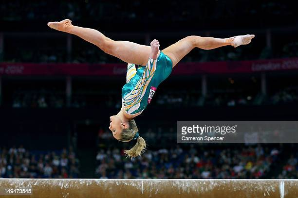 Emily Little of Australia competes on the beam in the Artistic Gymnastics Women's Team qualification on Day 2 of the London 2012 Olympic Games at...