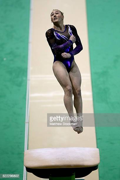 Emily Little of Australia competes on the vault during the Final Gymnastics Qualifier Aquece Rio Test Event for the Rio 2016 Olympics at the Olympic...