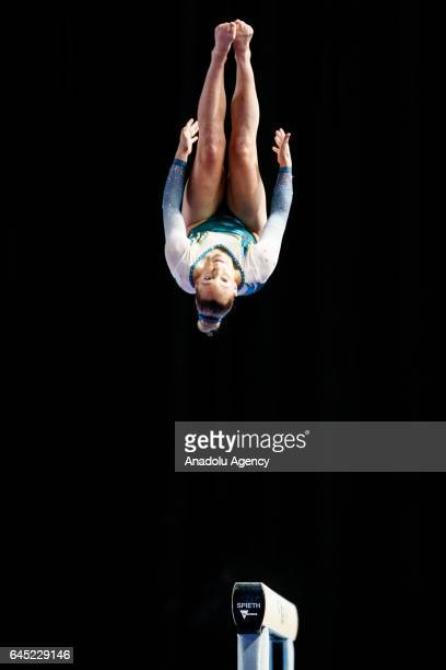 Emily Little of Australia competing in the Women's Balance Beam during the Gymnastics World Cup at Hisense Arena in Melbourne Australia February 25...