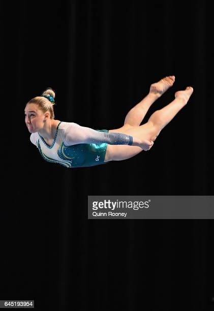 Emily Little of Australia performs on the Floor during the World Cup Gymnastics at Hisense Arena on February 25 2017 in Melbourne Australia