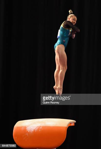 Emily Little of Australia performs on the Vault during the World Cup Gymnastics at Hisense Arena on February 24 2017 in Melbourne Australia