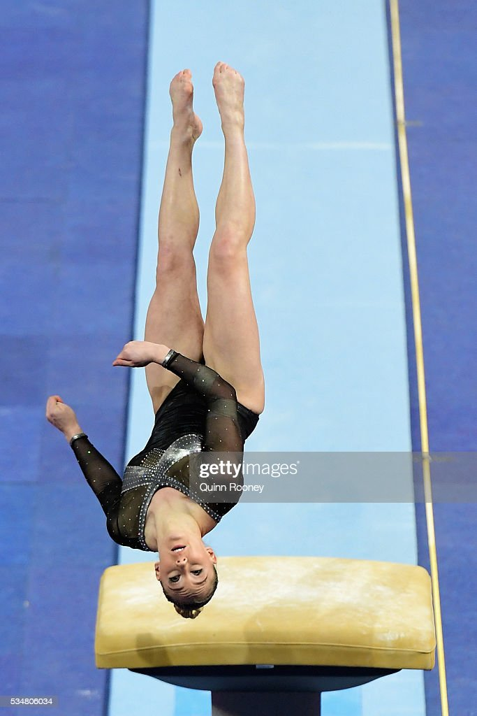 Emily Little of Western Australia competes on the vault during the 2016 Australian Gymnastics Championships at Hisense Arena on May 28, 2016 in Melbourne, Australia.