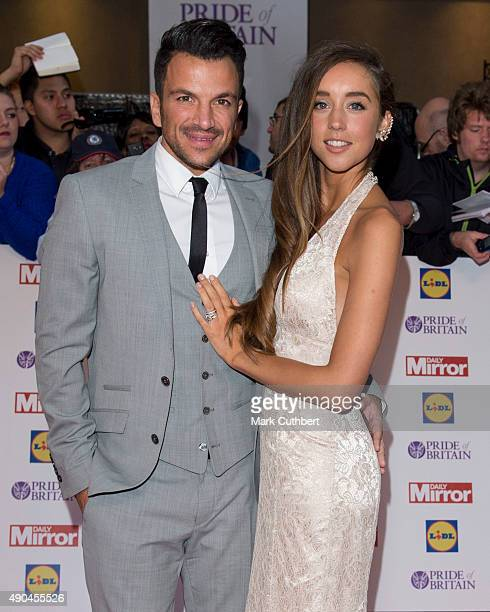 Emily MacDonagh and Peter Andre attend the Pride of Britain awards at The Grosvenor House Hotel on September 28 2015 in London England