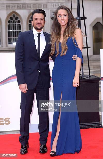 Emily MacDonagh and Peter Andre attend the Sun Military Awards at The Guildhall on January 22 2016 in London England