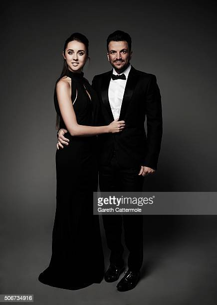 Emily MacDonagh and Peter Andre pose in the Portrait Studio during the 21st National Television Awards at The O2 Arena on January 20 2016 in London...