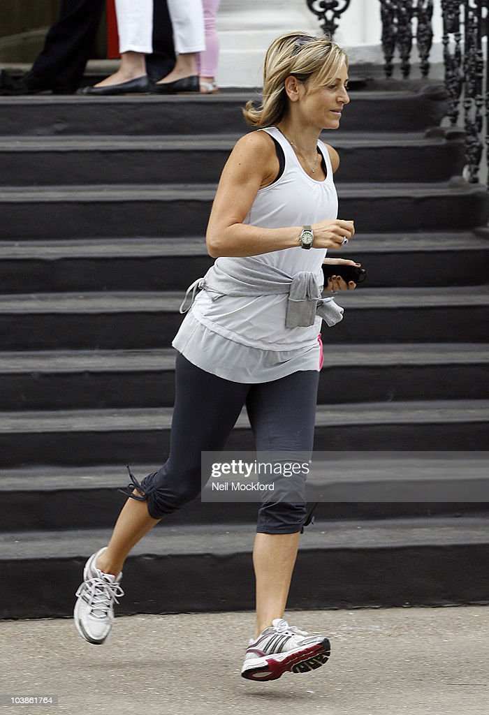 Emily Maitlis sighted jogging on September 6, 2010 in London, England.