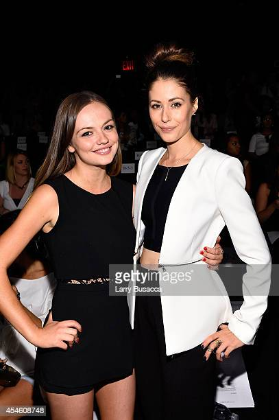 Emily Meade and Amanda Crew attend the BCBGMAXAZRIA fashion show during MercedesBenz Fashion Week Spring 2015 at The Theatre at Lincoln Center on...