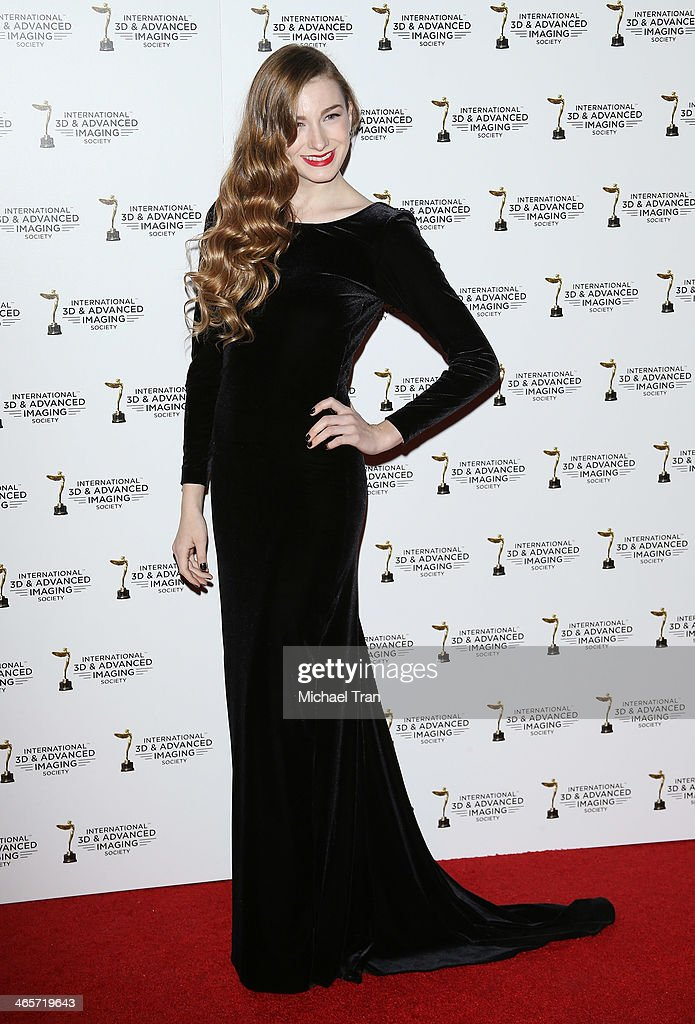 Emily Mest arrives at the 2014 International 3D and Advanced Imaging Society's Creative Arts Awards held at Steven J. Ross Theatre on January 28, 2014 in Burbank, California.