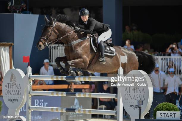 Emily Moffitt of England riding Galip during the Longines Grand Prix Athina Onassis Horse Show on June 3 2017 in St Tropez France